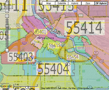 Mpls Zip Code Map.Zip Code Google Maps Da Man Com
