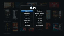 The Apple TV home screen