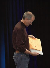Steve Jobs pulling a MacBook Air out of an envelope
